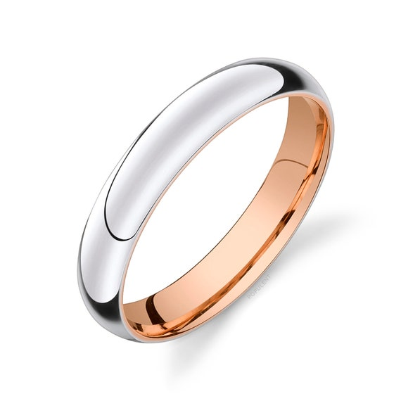 10K White Gold 4mm Domed Standard Comfort-Fit Wedding Band Ring for Men /& Women with Double Milgrain