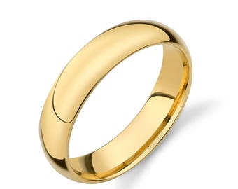 14k Yellow Gold Band (5mm) | PLAIN | Polished Rounded Dome + Comfort Fit | Men's Women's Wedding Ring Simple