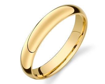 14k Yellow Gold Band (4mm) | CLASSIC DOME | Polished | Comfort Fit | Men's Women's Wedding Ring Simple