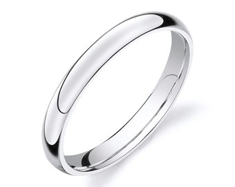 14k White Gold Band (3mm) | CLASSIC DOME | Polished | Comfort Fit | Men's Women's Wedding Ring Simple