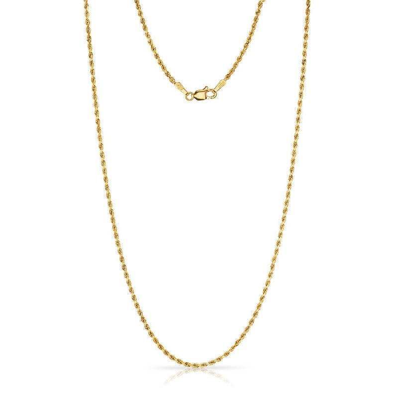 1a06c93fc8df9 14k Yellow Gold Rope Chain Necklace (1.5mm) | Simple THIN Classic Solid  Statement
