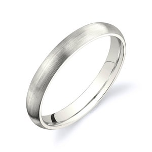 Matte Brushed Rounded Dome Men/'s Women/'s Wedding Ring White Unplated Champagne Simple Comfort Fit 14k Vanilla Gold Band 4mm | PLAIN