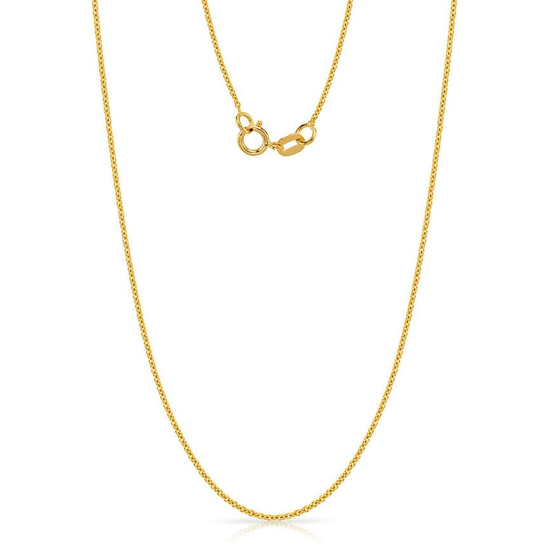 f75b8fe395dfd 14k Yellow Gold Rolo Chain (1mm thick / 16 or 18 inches) | Simple THIN  Classic Solid Chain for Pendant *White / Rose Available*