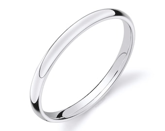 14k White Gold Band (2mm THIN) | CLASSIC DOME | Polished | Comfort Fit | Men's Women's Wedding Ring Simple Thin