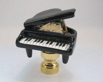 Lamp Finial Black Grand Piano Ceramic Found Object Lampshade Finial  U25
