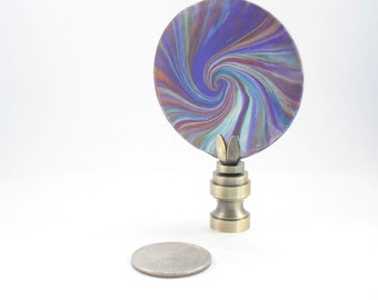 Lamp Finial Polymer Clay Swirl Disk of Many Colors, Lampshade Finial 19F