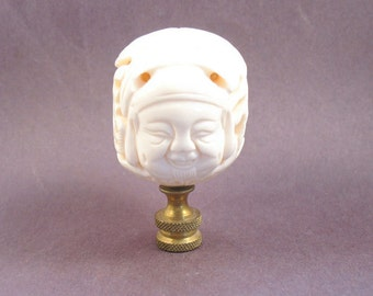 Asian Lamp Finial:  Ox Bone Face Ball.  Vintage Carved Asian White Sphere (B40)