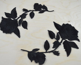 Black Rose Patch 2 Black Embroidery Patches/ Black Flower Applique Iron-on Backing Option for Mirrored Shape. Please Leave Note on Purchase