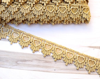 "Gold Lace Trim Nynette Delightfully Narrow Metallic Gold Venice Lace in Repeated Heart Shape 1.5"" Perfect for Gowns, Costumes  Home Decor"