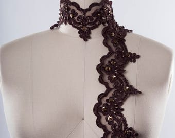 for Bridal,Bridesmaid,Sash,Dance Costumes,embroidery trim,wedding trim,costumes trim Chocolate brown Lace trim Applique 36 1 Yard