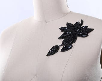 Black Floral /& Leaves Beaded Sequined Sew-On Applique Craft Patch Vintage 1980/'s