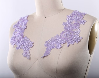 c6926919c6a Lilac Lavender Applique Lilac Lace Applique Beads and Sequins. Balanced  Embroidery Chocker Applique. Lovely Ballet Dancer Costume DIY