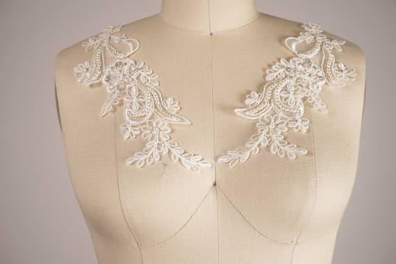 Ivory applique white applique beaded lace ivory applique etsy