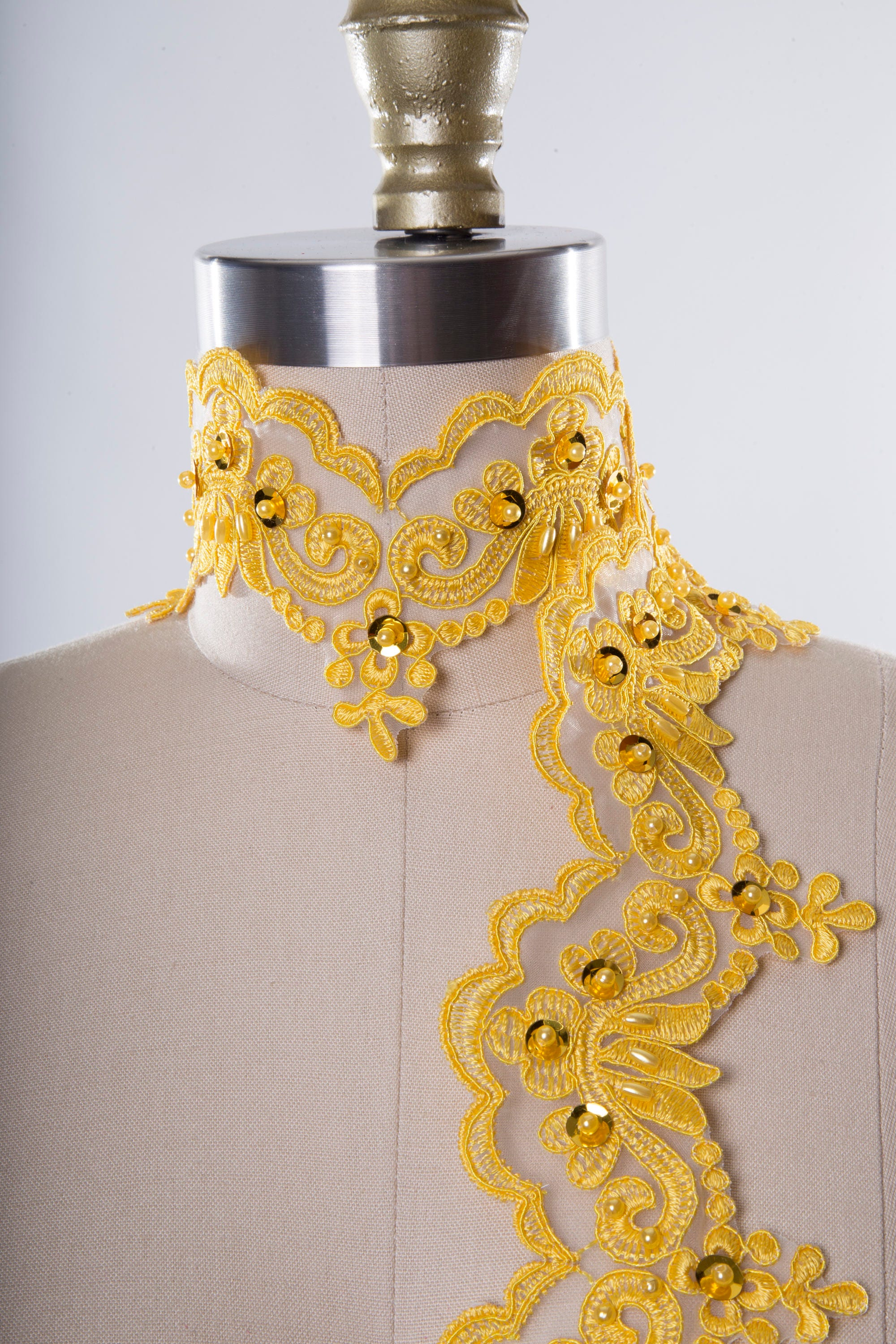 Yellow Beaded Lace Trim with Tasteful Sequins. Boldly Glamorous ...