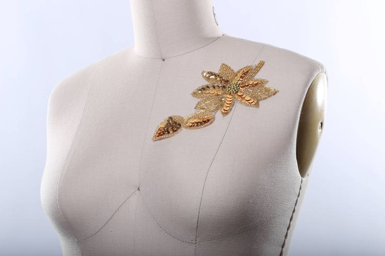 Antique Gold Sequined Flower Patches Beaded Go Flower Applique with Thin Stem and Leaf Hot Fix Iron on