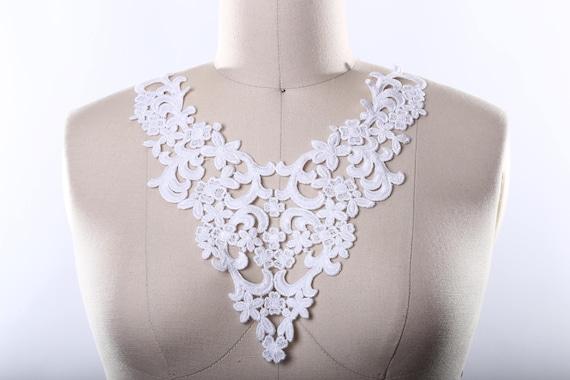 Garments Ballet Bridal PR 39 Bridal Jewelry Design WHITE Lace Applique Pair DYEABLE for Lyrical Dance