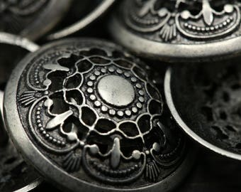 """Silver Metal Buttons 4 PIECES  / Antique Silver Buttons/ 1""""/ 25mm / 40L Hollow thy Name MS13"""