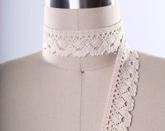 """2 Yards Natural Colored Ivory Cluny LaceTrim/ Ivory Crotchet Lace Trim/ Cluny Lace Naturalis 1.25"""" in Width"""