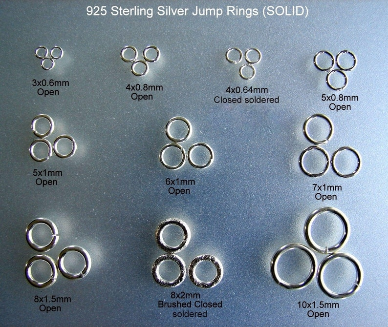 925 Sterling silver Jump RingsSOLIDOpened & Closed Jump image 0