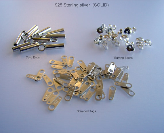 925 Sterling Silver Cord Ends,End Tubes,Stamped Tags,Earring Backs,Earring nuts