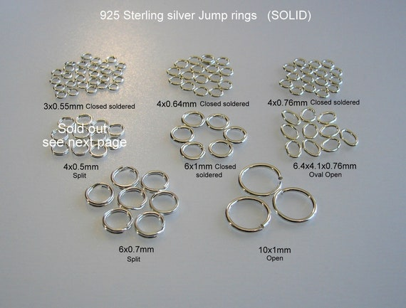 10mm 925 Solid Sterling Silver Oval open Jump Rings 4mm