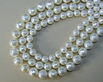 South Sea Shell Beads, Round, faceted, white, 14mm, 12mm, 10mm, Strands  (BD-A298-A299-A300)