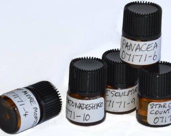 Five quarter-dram (1.5ml) indie perfume oil tester selection sample set - for men for women unisex variety - save 20%!