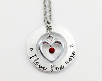 I love you more necklace, Heart necklace, Stamped quote necklace, Anniversary Necklace, Love quote necklace, I love you necklace