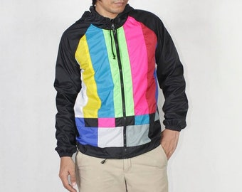 TV Color Bar Windbreaker Hood Jacket Waterproof.