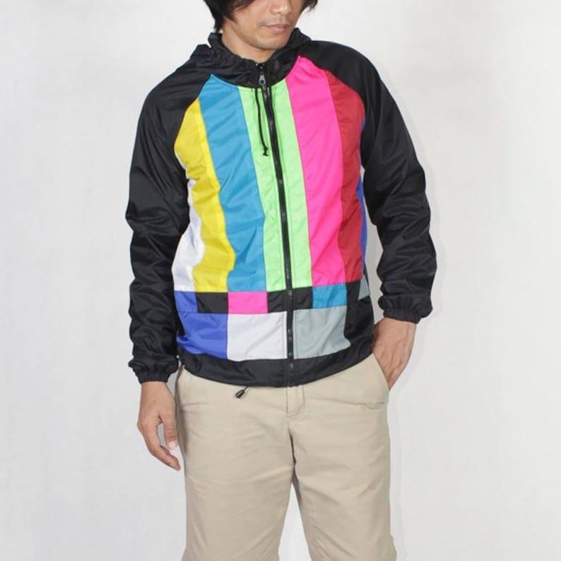 TV Color Bar Windbreaker Hood Jacket Waterproof. image 0