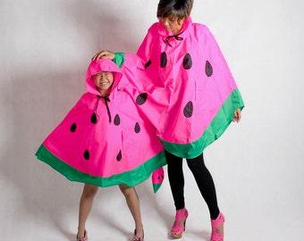 Mom Daughter Matching Watermelon Rain Poncho, Waterproof Poncho
