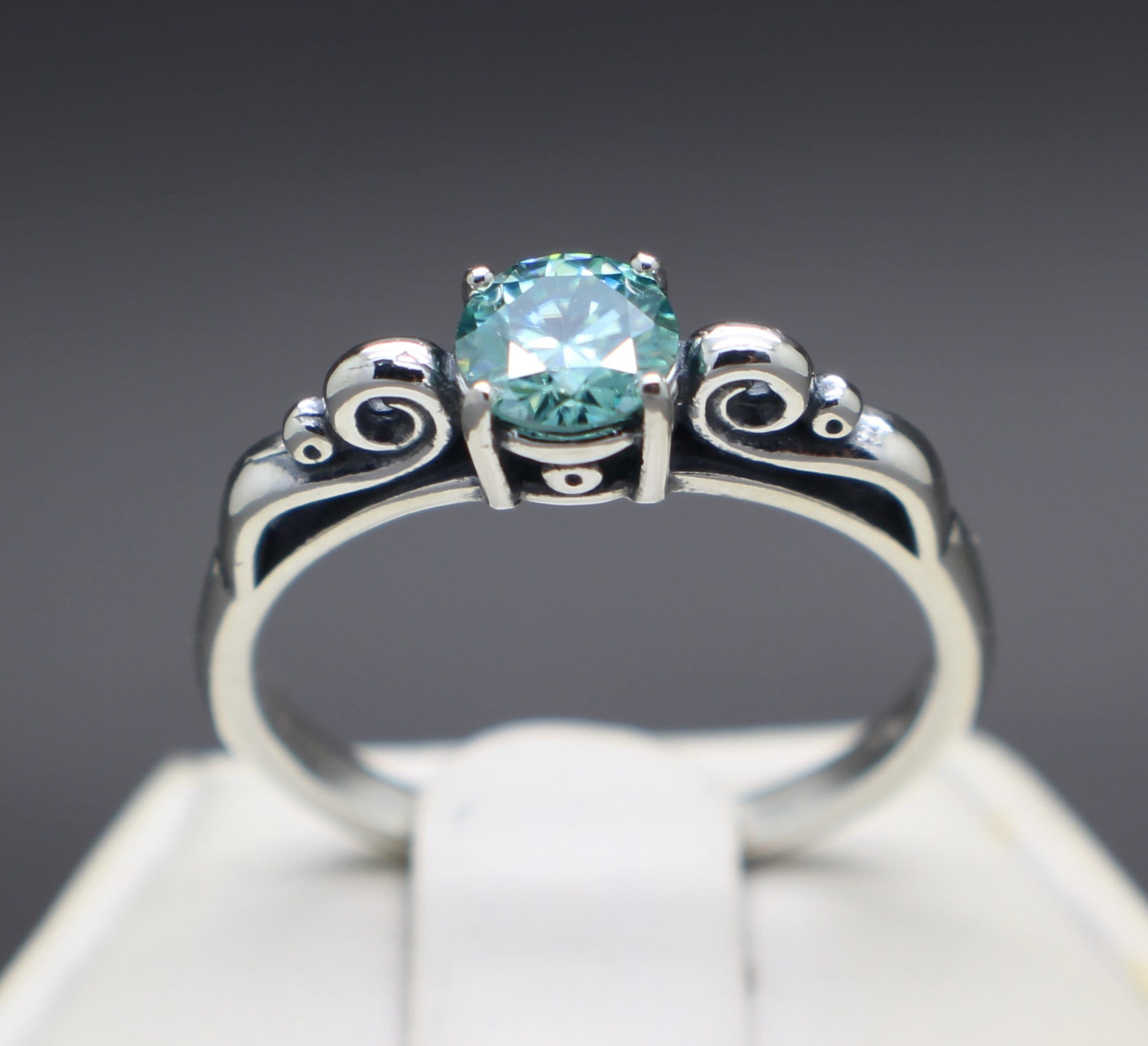 0.50cts to .75cts Fancy Ice Blue Diamond Scroll Ring VS-1 Clarity and Apprasied!
