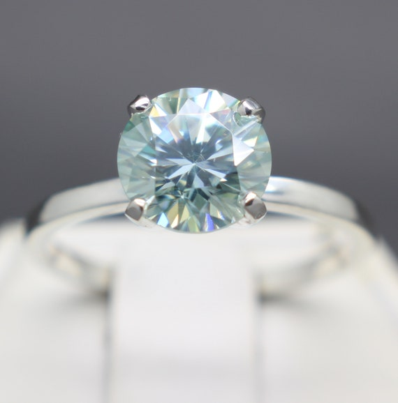 2.11cts Fancy Bluish Green Diamond Scroll Ring VVS-1 Clarity 8.53mm
