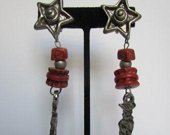 Vintage earrings- Star dangle drop earrings- 90s Jewelry