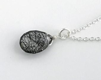 Rutilated Quartz Necklace, Tourmaline Crystal Pendant, Tourmalated Quartz, Clear Quartz Necklace, Necklaces for Women