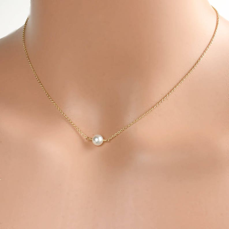 Freshwater Pearl Choker Necklaces for Women June Birthstone Bridesmaid Gifts Real Pearl Necklace Gold Silver or Rose Gold