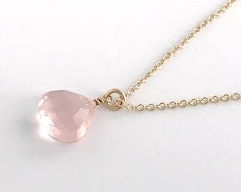 Rose Quartz Necklace Rose Gold, Silver or Gold - Pink Quartz Necklaces for Women - Genuine Rose Quartz