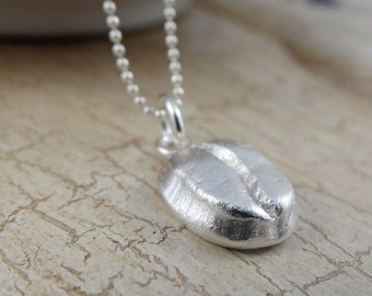 Handmade recycled fine silver coffee bean necklace