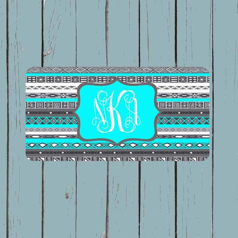 Aztec Tribal Circle Font   License Plate-Monogram Car Tag Front License Plate Personalized Plate