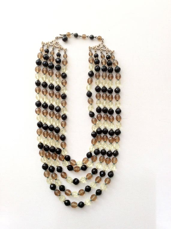 Stunning Vintage Four Strand Crystal Necklace