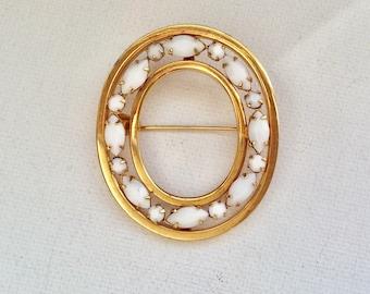 Beautiful Milk Glass Goldtone Oval Brooch