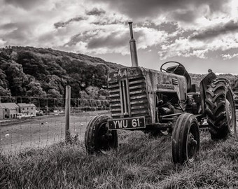 Vintage Tractor - fine art print, landscape, photograph, tractor, black and white, farm