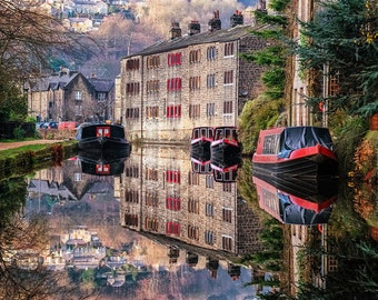 Near Perfect Mirror - fine art print, Hebden Bridge, Yorkshire, reflection, canal, houses, northern, boats, barges