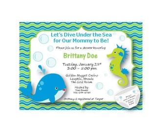 Ocean theme baby shower invite customizable etsy customizable baby shower invitation ocean theme filmwisefo