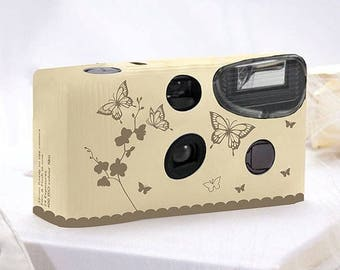 Butterfly Design Disposable Camera - Wedding Favour Gift - White or Ivory - Pack of 10