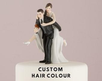Custom Wedding Cake Topper - Athletic Couple - American Football - Wedding Cake Topper - Sports Loving Couple - Bride and Groom -Cake Topper