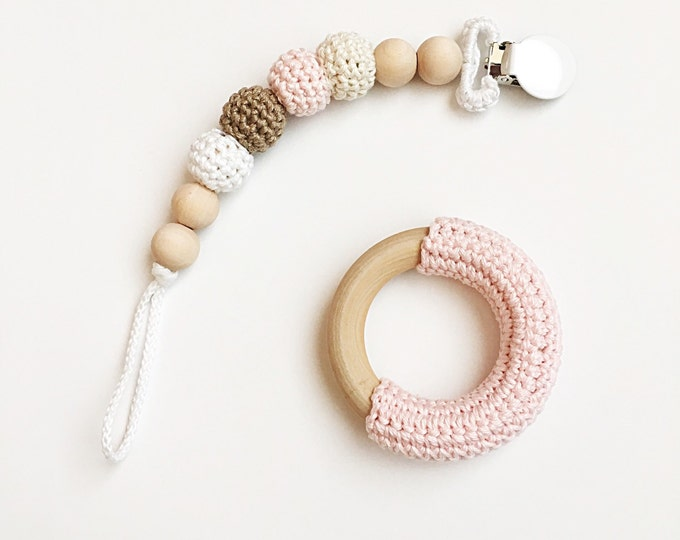 Featured listing image: Neapolitan Clip -- Crocheted Beads Pacifier Clip --  RING SOLD SEPERATELY