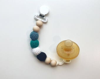 Whirlpool Clip - NomiLu Crocheted Clip -- Crocheted Beads Pacifier Clip