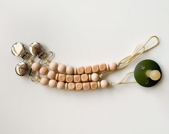 Love Clip - Wooden Beads (Pacifier NOT included)