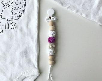 Lilac Clip -  Crocheted Beads Pacifier Clip -- Eco-friendly pacifier clip -- crocheted wooden beads -- Baby Teether
